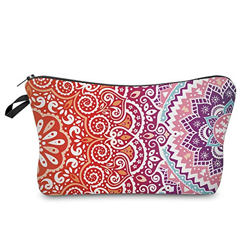 Cosmetic Bag for Women,Deanfun Mandala Flowers Waterproof Makeup Bags Roomy Toiletry Pouch Travel Accessories Gifts (51391)