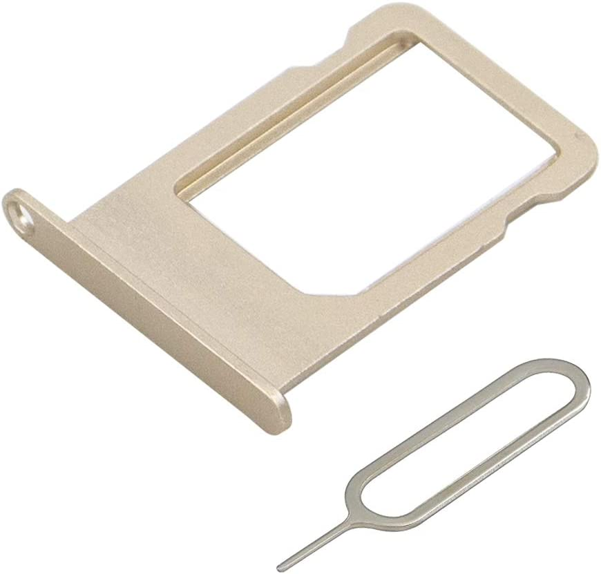 MMOBIEL SIM Card Tray Slot Replacement Part Compatible with iPhone 6-4.7 inch (Gold) incl Sim pin