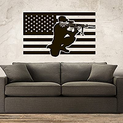 Wall Decal Decor Decals Sticker Art Army Soldier Military Weapons American Flag Vest Room Home Nursery M1638 Made in USA