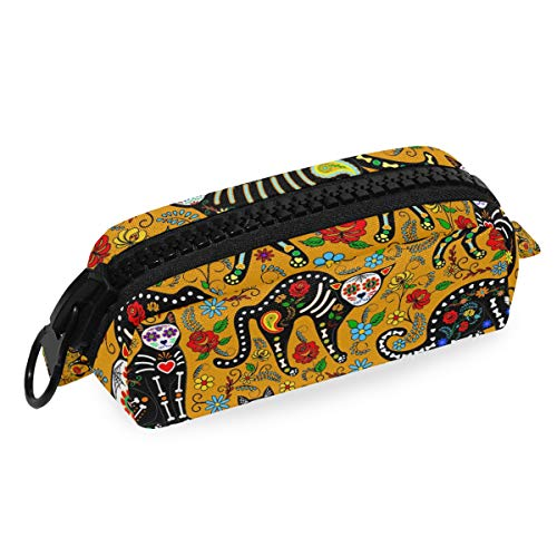Linomo Pencil Bag Halloween Sugar Skull Cat Large Zipper Pencil Case Canvas Pen Bag Pouch Holder for Travel Office School -