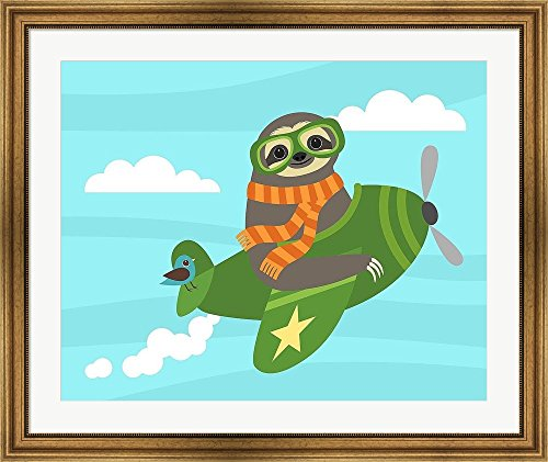 Airborne Sloth By Nancy Lee Framed Art Print Wall Picture, Flat Silver Frame, 38 X 32 Inches -