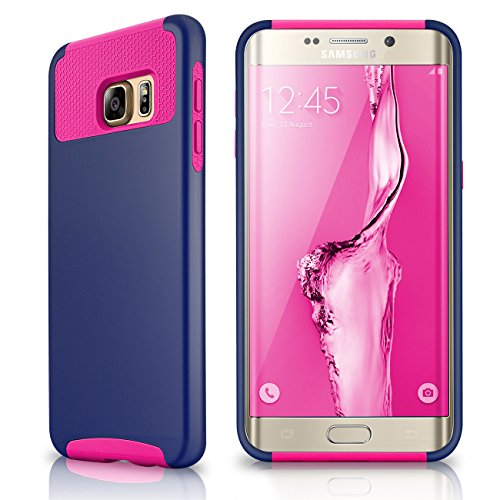 Samsung Galaxy S6 Edge Plus Case, Samcore Hybrid Dual Layer Shockproof Case For Samsung Galaxy S6 Edge Plus TPU/PC 2 Piece Soft Hard Cover (Navy Blue/Hot Pink)