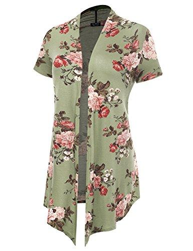 Women's Soft Drape Floral Cardigan Short Sleeve Green 6532 XX-Large