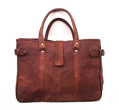 Handmade brown Vintage styled genuine Leather tote shoulder handbag shopping weekender travel carry on purse womens bag
