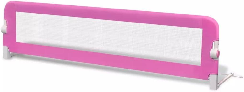 vidaXL Barandilla Infantil Seguridad de Cama Rosa Barra Protectora Dormir Niño