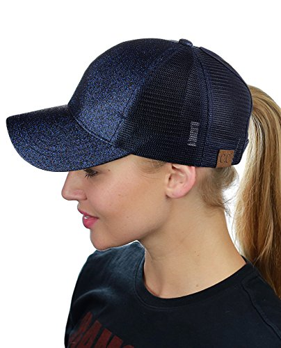 C.C Ponycap Messy High Bun Ponytail Adjustable Glitter Mesh Trucker Baseball Cap, Navy