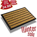 Extra durable striped doormat outdoor - Rubber doormat indoor - Non-slip waterproof doormat rug (30 x 17) - Back and front door mat - Easy clean entrance door mat - Inside/Outside doormat - Welcome