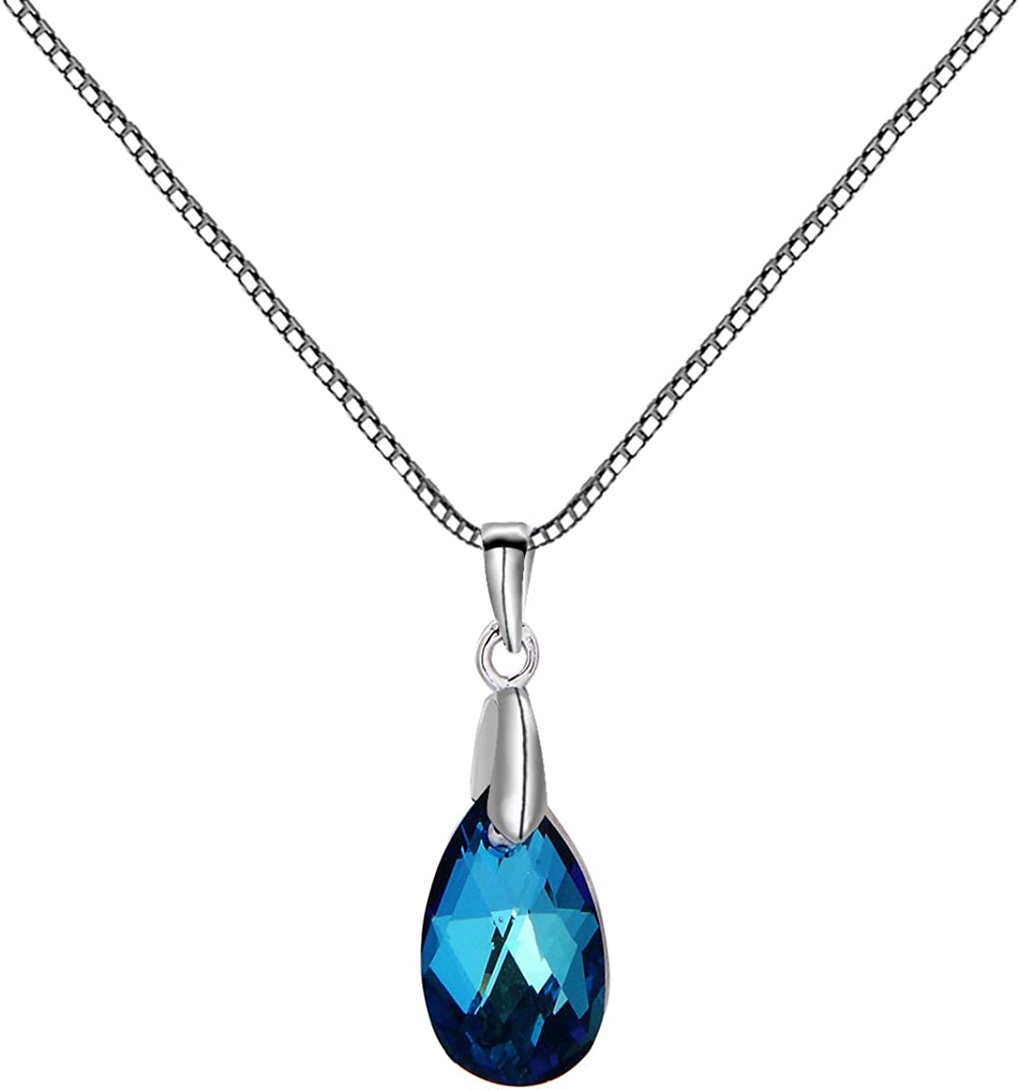 FASHIONS FOREVER® 925 Pear Crystal Necklace-Pendant made with SWAROVSKI® Crystal