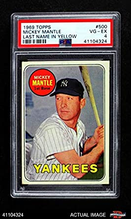1969 Topps 500 Yn Mickey Mantle New York Yankees Baseball Card Mantle In Yellow Letters Psa 4 Vgex Yankees