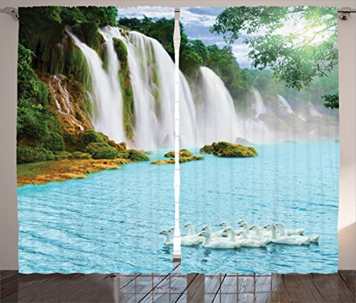 Ambesonne Waterfall Curtains, Image of a Grand Waterfall with Swans in The Lake Sunny Day Nature Print, Living Room Bedroom Window Drapes 2 Panel Set, 108