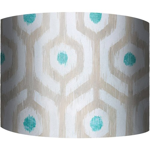 12'' Drum Lamp Shade, Ikat Teal, Decorative Lamp Shades 1 by Generic