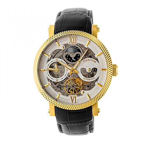 Heritor Automatic Men's Aries Skeleton Gold/Silver Leather Watch