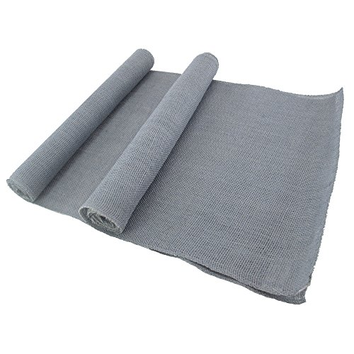 BambooMN Gray 15'' x 88'' Vintage Hemp Burlap Table Runner For Rustic Wedding Bridal Shower Bacheloretter Graduation Party Table Decor Decorations - 30 Pcs by BambooMN