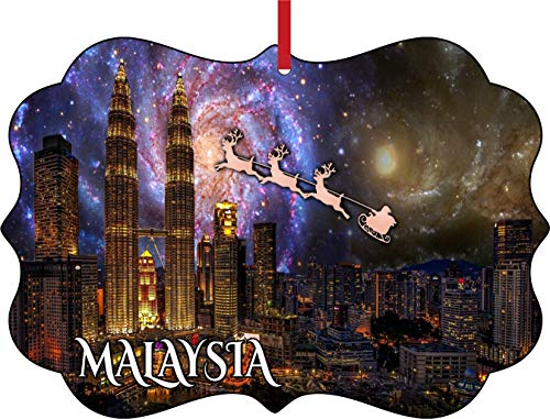 - Lea Elliot Inc. Santa Klaus and Sleigh Riding Over The Petronas Towers Malaysia Elegant Aluminum Semigloss Christmas Ornament Tree Decoration - Unique Modern Novelty Tree Décor Favors