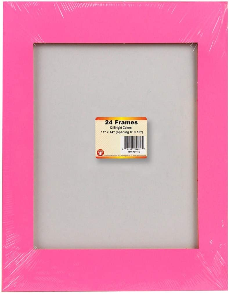12 Assorted Colors Hygloss Products 34412 24-Pack Bright Paper Frames Letter Size 24 Pieces