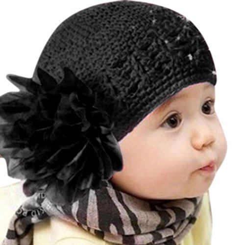 [Usstore Kids Infant Flower Headwear Knitting Hat Headband Cap (Black)] (1920s Beach Costume)