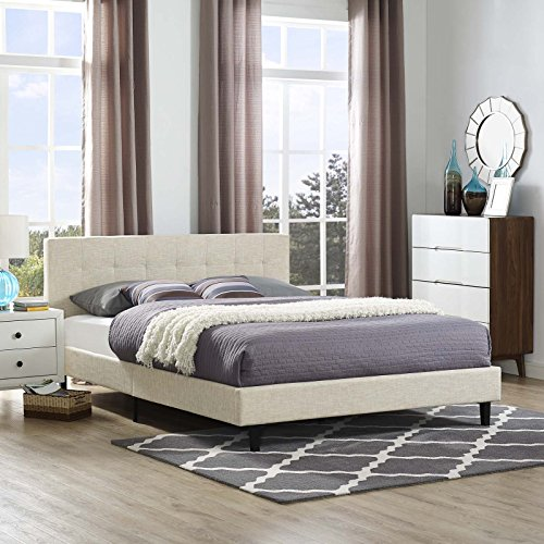 Modway MOD-5426-BEI Linnea Fabric Bed, Queen, Beige (Bed Slatted Queen)