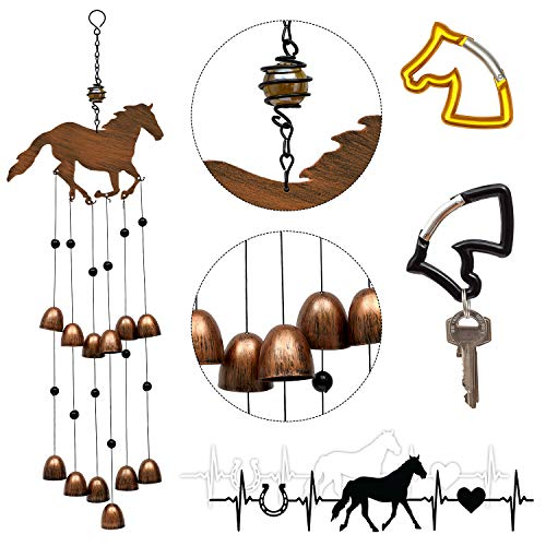 Cantik Horse Wind Chime Gift Set - Long Lasting Windchime Gift Boxed with 2 Horse Decals & 2 Horse Carabiners. A Unique Horse Related Gift for Women, Girls & Horse Lovers - The Ideal Horse Present.