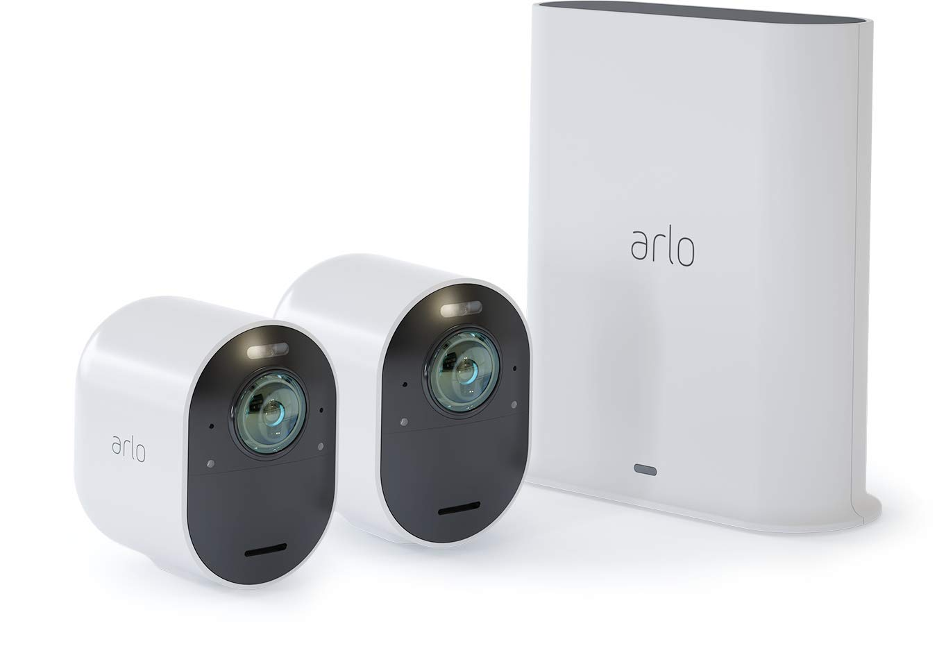Arlo Ultra - 4K UHD Wire-Free Security 2 Camera System | Indoor/Outdoor Security Cameras with Color Night Vision, 180° View, 2-Way Audio, Spotlight, Siren | Works with Alexa | (VMS5240) by Arlo Technologies, Inc