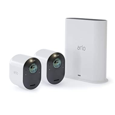 Arlo Ultra - 4K UHD Wire-Free Security 2 Camera System | Indoor/Outdoor Security Cameras with Color Night Vision, 180° View, 2-Way Audio, Spotlight, Siren | Works with Alexa | (VMS5240)
