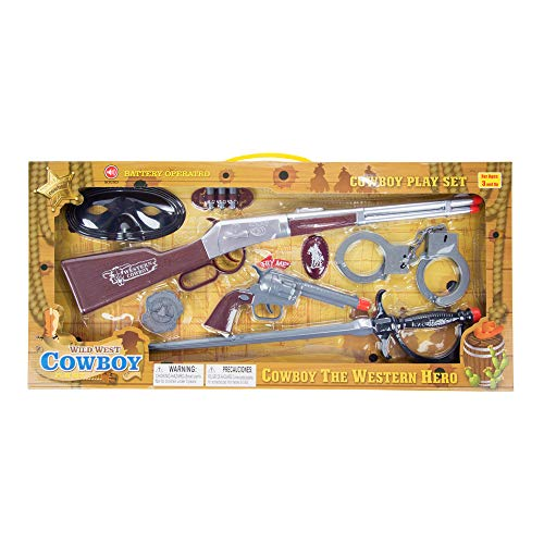 Cowboy Wild West Toy Gun Pretend Play Set with Sound Action - Fun Western Frontier Pioneer Ranger Hero Dress Up Shooting Accessories - Pistol Revolver Shotgun Rifle Bullets Badge Mask Sword Handcuffs -