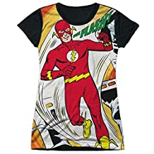 JLA DC Comics Justice League Flash On Filmstrip Juniors Black Back T-Shirt Tee
