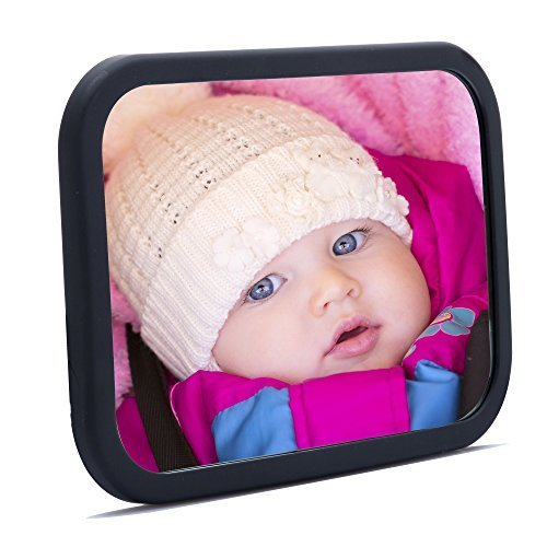 - Baby Traveler Back Seat Mirror For Car - 360° View Rear Facing Infant in Back Seat - 100% SAFETY, CRASH TESTED, FULLY ADJUSTABLE, UNBREAKABLE MIRROR - Best Newborns W/Secure Headrest Double-Strap.