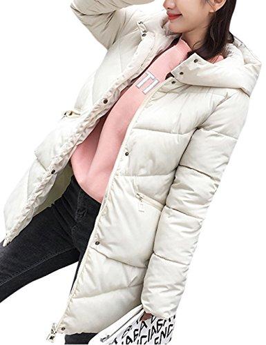 Blanco engrosada ropa Abrigo algodón estilo capucha invierno largo de las Mujeres para medio con acolchado Abrigo rzZUxr