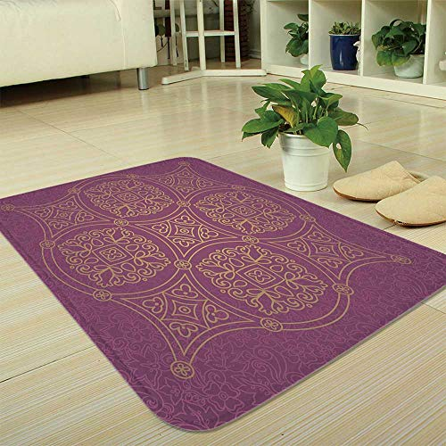 YOLIYANA Non-Slip Mat,Purple Mandala,for Bathroom Kitchen Bedroom,35.43