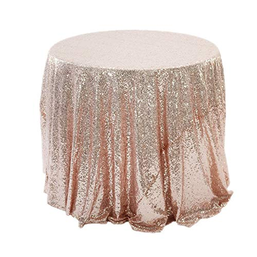 - AiYannis6 32'' Sequin Round Tablecloth Shining Champagne Blush Table Cover Table Cloth for Wedding Party Home Decor (Rose Gold, 80cm)