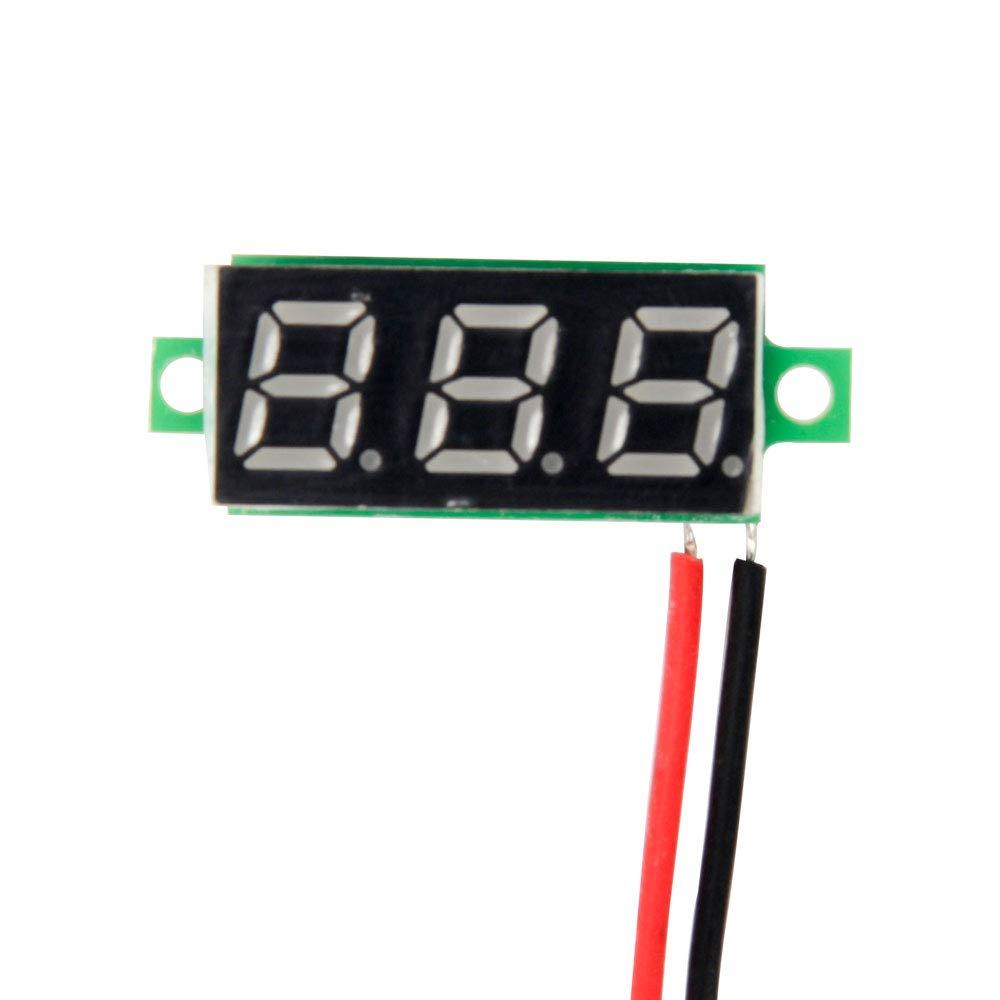 Amarillo Verde Blanco Azul Jolicobo 5pcs Mini Digital LED volt/ímetro Pantalla 0.28DC 2.4~30V 2 Cables Medidor probador con protecci/ón de polaridad inversa y medici/ón de presi/ón precisa Rojo