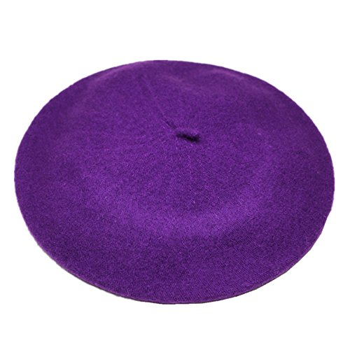 Purple Hat French Small - Joyhy Women's Solid Color Classic French Style Beret Beanie Hat Purple