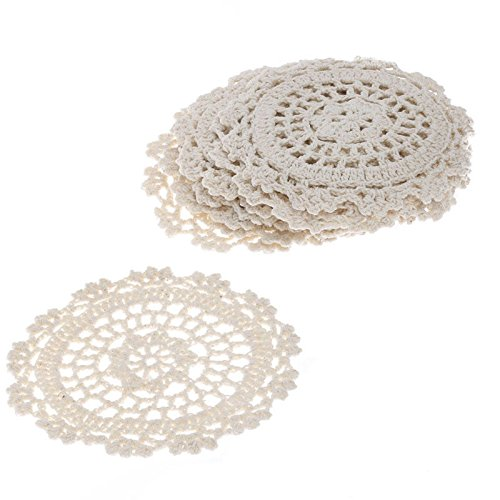 "4"" Ivory Round Cotton Hand Crocheted Lace Doilies, Set of 12"
