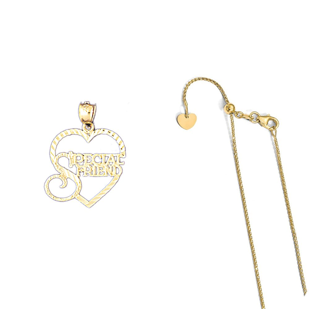 14K Yellow Gold Special Friend Pendant on an Adjustable 14K Yellow Gold Chain Necklace
