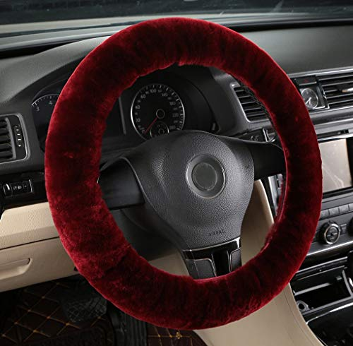 MLOVESIE Universal Genuine Wool Sheepskin Univeral Car Vehicle Steering Wheel Cover Car Wheel Cushion Protector Available for 35cm-49cm Steering Wheel in Diameter