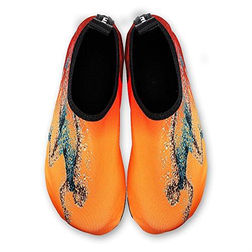 Womens E Mens Water Shoes A Piedi Nudi Quick-dry Calze Aqua Per Beach Swim Surf Yoga Esercizio Arancione / Running