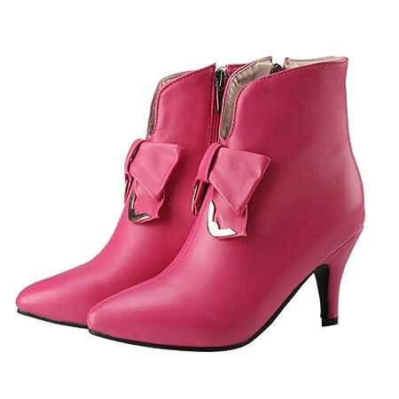 Zapatos de Cuero de Moda para Mujer Botines con tacón Fino con Cremallera en Nudo de mariposaLILICAT® Botines de tacón Alto en Punta para Mujer (Negro, ...