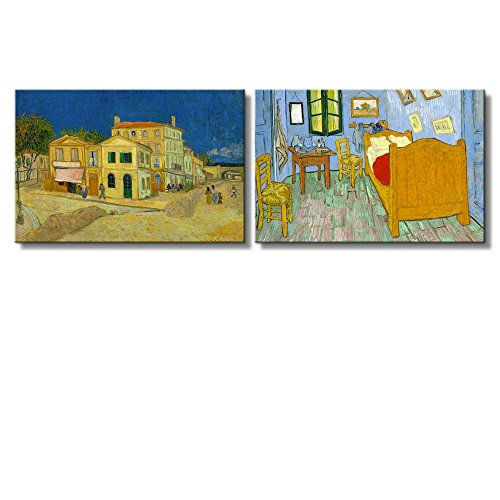 Bedroom The Yellow House by Vincent Van Gogh Oil Painting Reproduction in Set of 2 x 2 Panels