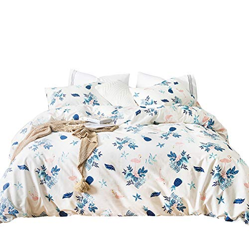 SUSYBAO 3 Pieces Floral Duvet Cover Set 100% Cotton White King Size Blue Pineapple Bedding Set with Zipper Ties 1 Coral Flamingo Print Duvet Cover 2 Pillowcases Luxury Quality Soft Comfortable Durable (Flamingo Coral)
