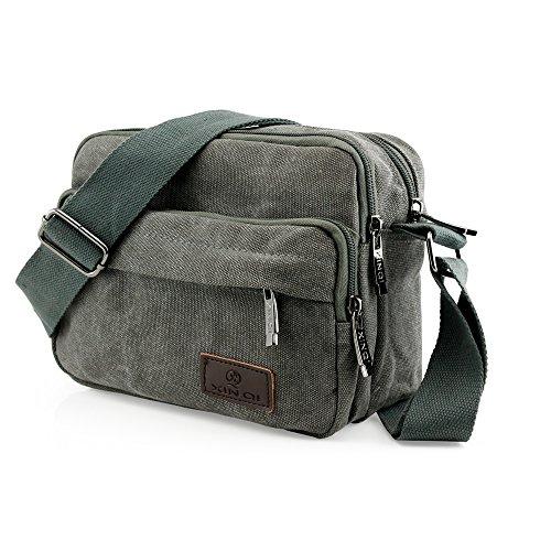 GEARONIC TM Men Vintage Crossbody Canvas Messenger Shoulder Bag School Hiking Military Travel Satchel - Gray