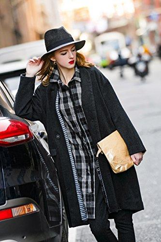 You.U Collar entallado con escote largo de mujer suelto apto para el otoño de primavera Azul