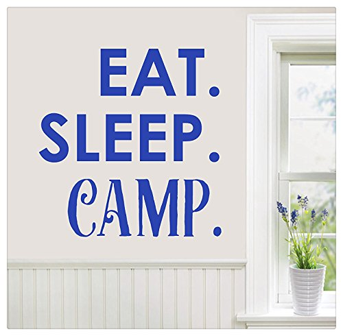 """24""""x24"""" Eat Sleep Camp Vacation Wilderness Hiking Woods Lake Wall Decal Sticker Art Mural Home Decor Quote"""