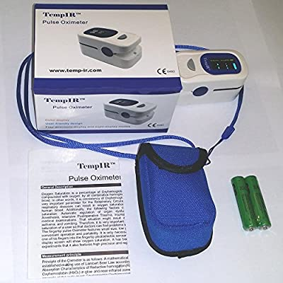 Finger Pulse Oximeter - Portable - FDA Approved - Digital Blood Oxygen and Pulse Sensor Meter with Alarm - SPO2 - For Adults, Children, Sports use only - TempIR for Reliability and Excellent Customer Care
