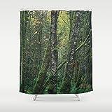 Tree Print Custom Shower Curtain | Green Bath Decor | Woodland Decor | Extra Long Shower Curtain | Moody Forest Home Decor