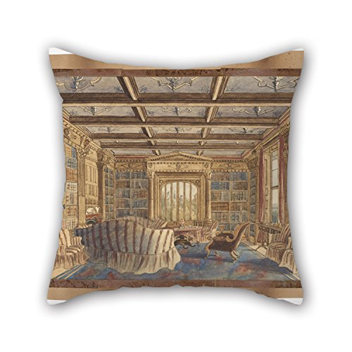 [Artistdecor Oil Painting Charlotte Bosanquet - The Library At Dingestow Pillow Shams 20 X 20 Inches / 50 By 50 Cm Gift Or Decor For Husband,son,couch,shop,christmas,coffee House - Each] (The Pope Costume At The White House)