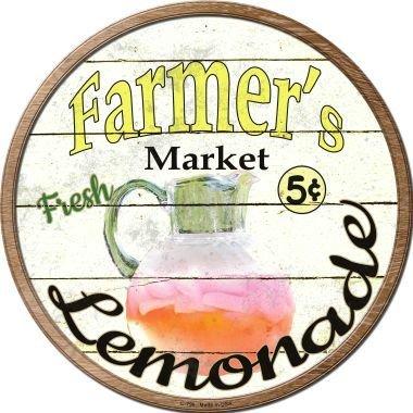 Bargain World Farmers Market Lemonade Novelty Metal Circular Sign (Sticky Notes)