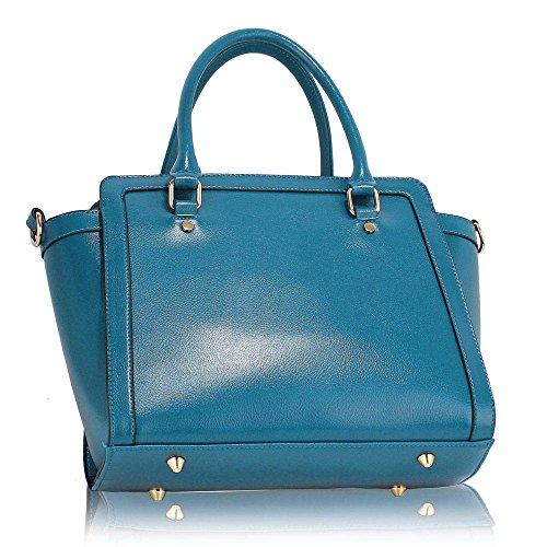 TrendStar Frau Des Faux Leder Handtasche Neu Damen Schulter Taschen Für Leinentrage Entwerfer Stil Berühmtheit Des Faux Leder B - Blau PUqy0egQ