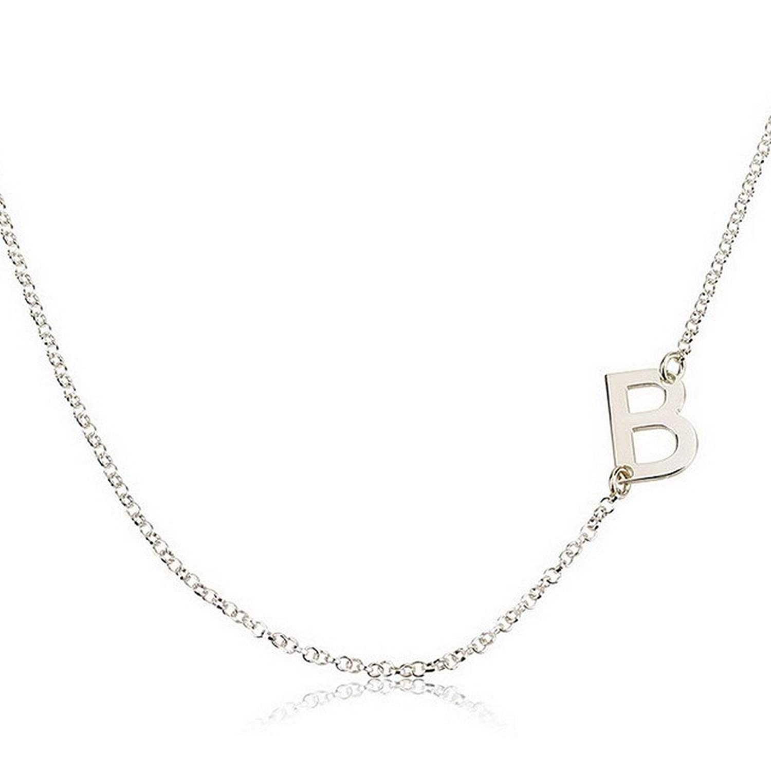 necklace amazon dp pendant com initial sideways silver letter personalized jewelry inches custom