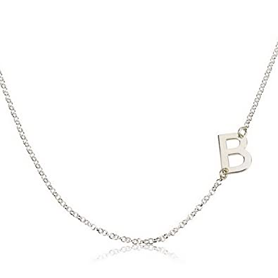 sideways initial necklace silver initial pendant personalized necklace custom necklace letter necklace
