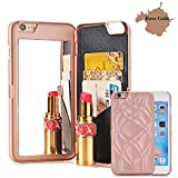 iphone6 cover card holder - iPhone 6/6S Case, [3D Mirror Series] Cards Holder Kickstand Wallet Style Flip Back Cover Protective Case with Free Screen Protector for Apple iPhone6/6S 4.7 inch (Rose Gold)